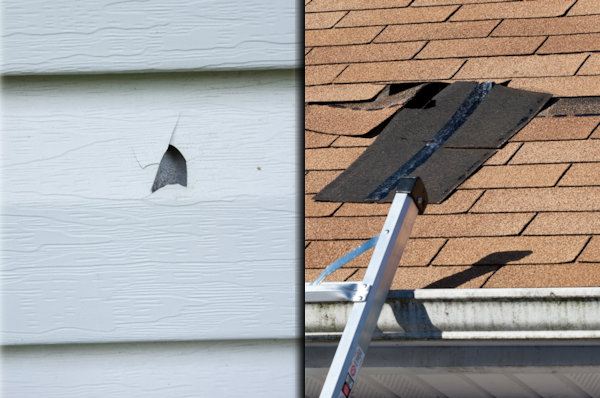 hail damage to siding and wind damage to roof